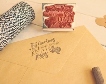 Whimsical State Stamp - Hand Drawn Calligraphy-Inspired Return Address Stamp
