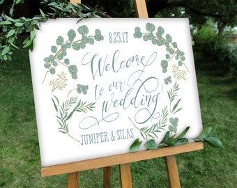Green Leaves Wedding Welcome Sign - Botanical Rustic Welcome - Digital File - PDF - Instant Download - Sage