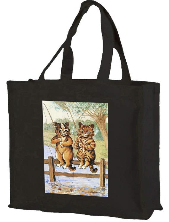 Louis Wain Fishing Cats Cotton Shopping Bag with gusset and long handles, 3 colour options