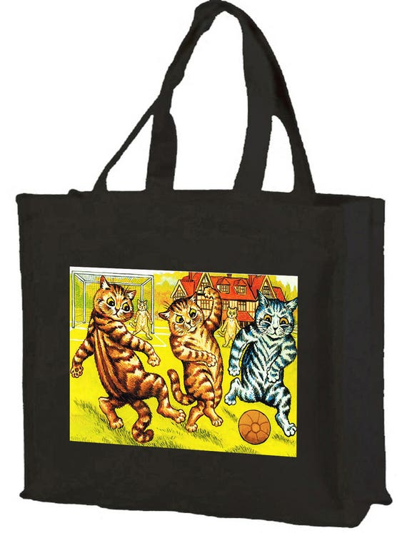 Louis Wain Football Cats Cotton Shopping Bag with gusset and long handles, 3 colour options