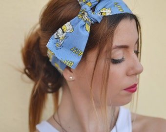 Workout Head Scarfs, Hair Covering, Blue Headband, Headband Adult, Woman Top Knot, Cotton Head Wrap, Pin Up Headband, Bow Headbands, Turban