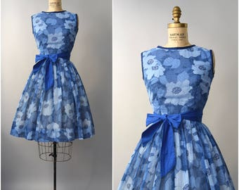 1960's Henry Rosenfeld blue floral sun dress • small