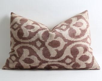 Pale Purple Ikat Pillow - Silk Velvet Ikat Purple Pillows Decorative Large Sofa Pillows Modern Soft Decorative Velvet Ikat Pillow For Couch