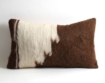 Rustic home decor brown white 12x20 inch fur kilim pillow cover goat hair