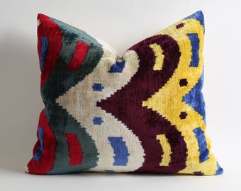 Handwoven hand dyed ikat velvet pillow cover 16x18 best quality ikat fabrics