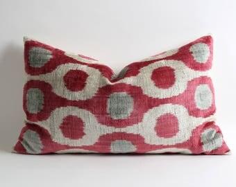 Home decor lumbar pillows // Pinkish red gray white 16x26 handwoven silk velvet ikat pillow cover // ikat bedding