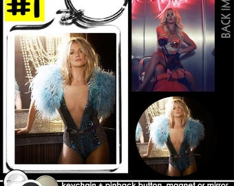 Britney Spears KEYCHAIN + BUTTON or MAGNET or pocket mirror keyring pinback the key ring piece of me live vegas concert femme fatale #1588