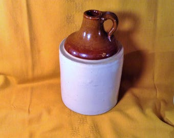 Large Brown and White Jug - Rustic Country Stoneware Decor - Vase, Garden or Yard Art - Farmhome Kitchen Storage