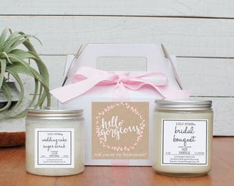 Bridesmaid Gift Set | Maid of Honor Gift Set -  Hello Gorgeous Label -  Personalized Bridesmaid Gift | Candle and Sugar Scrub Set