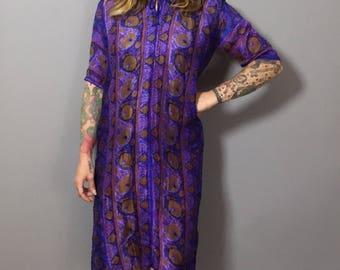 Vintage Tunic Dress / Deco Print Dress / Retro Tunic / Purple Dress / Purple Tunic / Silk Dress / Silk Tunic Small
