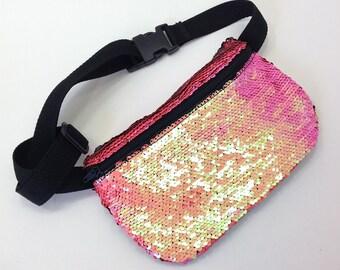 mermaid sequin fanny pack , bum bag , hip pack , festival fanny pack , vegan bag, belt bag ,waist bag, fanny bag, belly bag, sequin bag