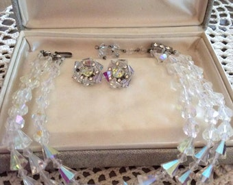 Vintage 1950s Demi Parure Set 2 Strand Necklace Clip On Earrings Glass Crystals Rhinestones Marvella Box