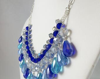 Blue Layered Dangle Bead Necklace