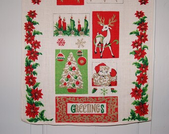Vintage Christmas Linen Tea Towel, 1950s Red Green White Santa Reindeer Tree Pointsettia Greetings Holiday Towel, Retro Kitchen Towel Gift