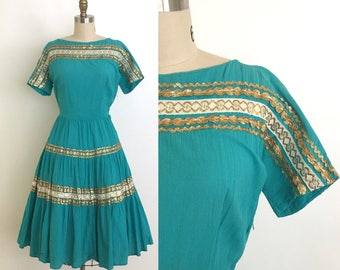 RESERVED vintage 1950s dress | 50s southwestern patio dress with gold trim