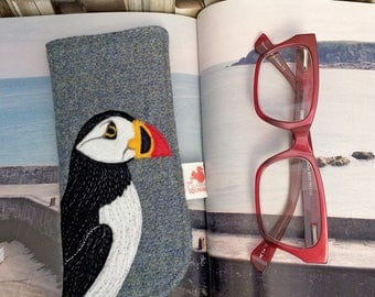 Puffin glasses case - embroidered puffin - puffin spectacles case - blue Harris Tweed - puffin sunglasses case - eyeglass case - puffin gift