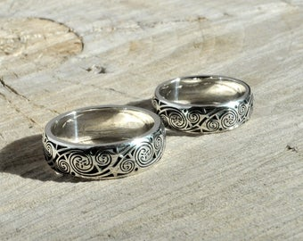 sterling silver wedding rings book of kells silver celtic wedding rings - Steampunk Wedding Rings