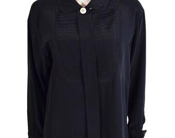 Vintage Chanel Black Pleated Bib Silk Blouse 1980s