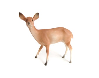 Vintage Plastic Deer Figurine, Doe, Christmas Mantle Decor, Deer Figure