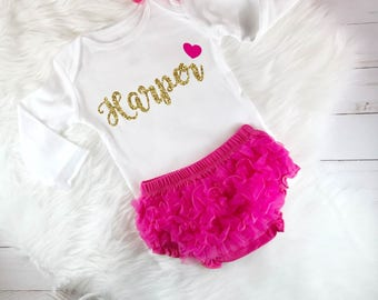 Personalized Baby Girl Outfit, Coming Home Outfit, Baby shower gift, baby girl clothes, Take Home Outfit, Personalized Newborn Outfit, Pink