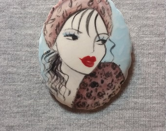 Animal Print Brooch - Handpainted Jewelry  Ceramic Brooch - Pin - Art Jewelry - Unique Pin - Wearable Art - Unique Gift For Women