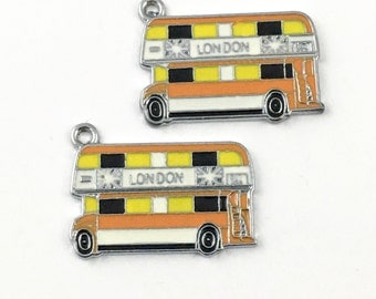 2 London bus charm enamel and silver tone , 20mm x 25mm # CH 471