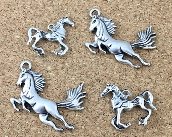 4 horse charm antique silver,25mm to 30mm #CH 562