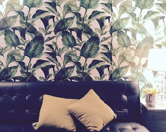 Tropical Leaves Wallpaper-  Self Adhesive Fabric Wallpaper -  Removable, Repositionable, Reusable. EASY  PEEL & STICK !! R0006
