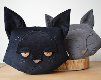 """Mother's Day Gift, Cat Cushion, Cat Pillow, Cat Lover Gift, Gift for Her, Plush Cat, Decorative Cat, Cute Cat Decor - """"Dissatisfied Cat"""""""
