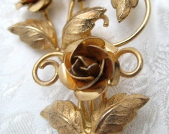 Vintage Gold Filled Stamped ECCO G.F. Rose Flower BROOCH