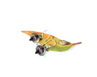 Bohemian Earrings, Botanical Earrings, Fold Formed Earrings, Copper Earrings, Nature Earrings Gift, Silver Earrings, Boho Earrings, Dangle