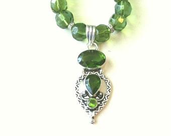 Peridot Necklace, Peridot Pendant, Sterling Silver Peridot Pendant and Glass Bead Necklace