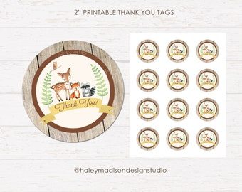 Woodland Thank you Tags, Baby shower tags, Birthday tags, Rustic woodland thank you tags DIGITAL FILE