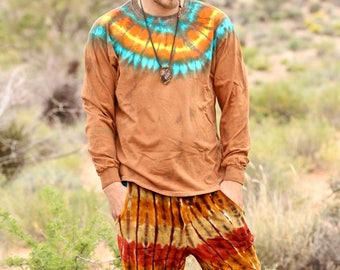 Tie Dye Mens Large Long Sleeve, Trippy Shirt, OOAK Hippie Fashion