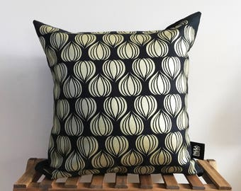 Gold Eco Drops Cotton Canvas Screen Printed 16x16 Pillow