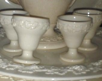 Wedgewood Egg Cups in Cream on Cream Embossed Queensware, 4 Egg Cups