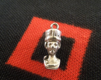 Sterling Pharaoh Charm Vintage Egyptian Pharaoh Bust Charm Sterling Silver Charm for Bracelet from Charmhuntress 03903