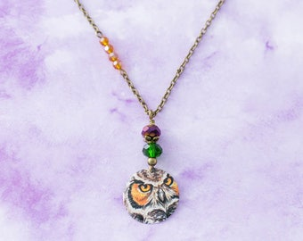 Owl Vintage Tin Pendant Asymmetrical Charm Necklace with Purple, Green and Orange Beads and Antique Brass Chain Jewelry
