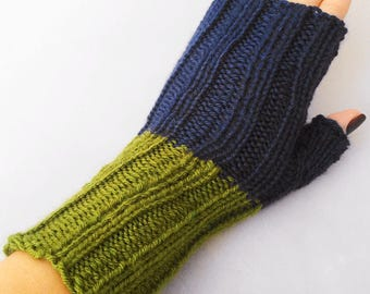 Navy and olive colorblocked fingerless gloves, navy and olive armwarmers