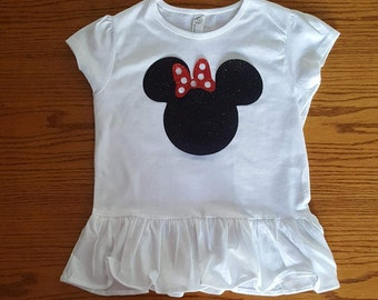 Minnie Mouse Glitter Ruffle Shirt/Custom Glitter Shirt/Disney World Glitter Shirt/Disney Family Matching Shirts/Glitter Mickey Mouse