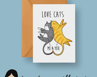 Love Cats Card, Cat Valentines Card - Hand Illustrated Card, Cat Card, Kitten Card, Romantic Card, Love Card, Anniversary Card, Cute Cat