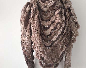 Crochet shawl ombre brown