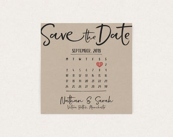 Calligraphy Brush Calendar Save the Date Kraft Card Wedding Invites