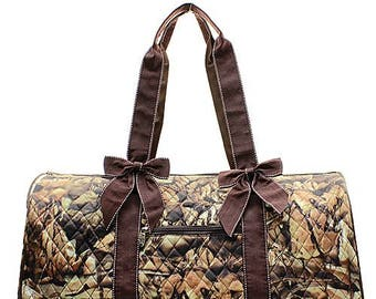 Monogrammed Camo Quilted Duffle Bag Personalized Brown Tote Travel Tote Cheer Gym Weekend Weekender Embroidered Monogram Name