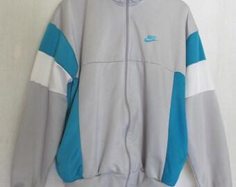 NIKE Track Jacket Gray and Turquoise 1980s Nike Jogging Jacket XL