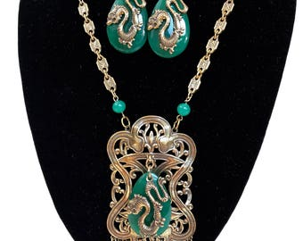 Vintage 1960s Chinese Necklace & Earrings Jewelry Set Green Glass Faux Jade Asian Inspired Necklace Dragon Pendant Antique Estate Jewelry