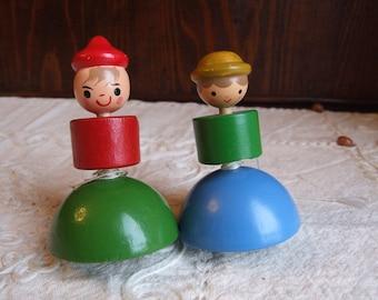 Rare Vintage Italian SEVI 1960s spinning top toy figurine.