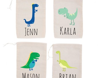 Dinosaur {set of 10} Personalized Muslin Party Favor Bags