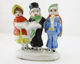 Vintage Bisque Christmas Carolers  Small group of carollers made in japan 2 3/4""