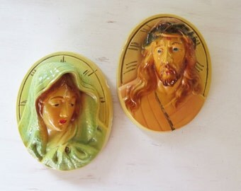 Vintage Chalkware Jesus Christ and Holy Mother Plaques Pair of Religious Chalk Plaques High Relief